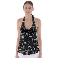Petroglyph Nordic Beige And Black Background Petroglyph Nordic Beige And Black Background Babydoll Tankini Top by snek