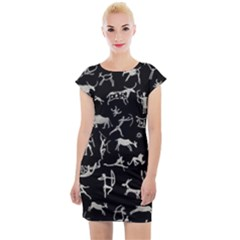 Petroglyph Nordic Beige And Black Background Petroglyph Nordic Beige And Black Background Cap Sleeve Bodycon Dress by snek