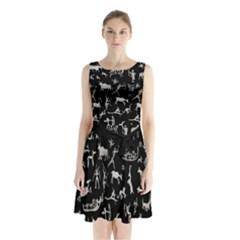 Petroglyph Nordic Beige And Black Background Petroglyph Nordic Beige And Black Background Sleeveless Waist Tie Chiffon Dress by snek