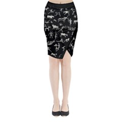 Petroglyph Nordic Beige And Black Background Petroglyph Nordic Beige And Black Background Midi Wrap Pencil Skirt by snek