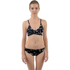 Petroglyph Nordic Beige And Black Background Petroglyph Nordic Beige And Black Background Wrap Around Bikini Set by snek