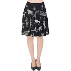 Petroglyph Nordic Beige And Black Background Petroglyph Nordic Beige And Black Background Velvet High Waist Skirt by snek