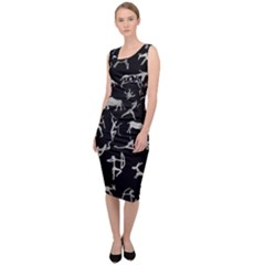 Petroglyph Nordic Beige And Black Background Petroglyph Nordic Beige And Black Background Sleeveless Pencil Dress by snek