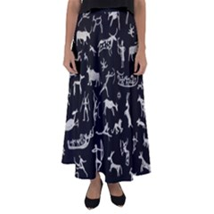 Petroglyph Nordic Beige And Black Background Petroglyph Nordic Beige And Black Background Flared Maxi Skirt by snek