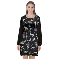 Petroglyph Nordic Beige And Black Background Petroglyph Nordic Beige And Black Background Long Sleeve Chiffon Shift Dress  by snek