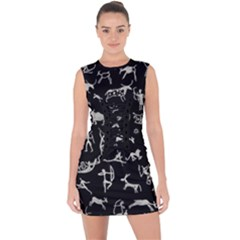 Petroglyph Nordic Beige And Black Background Petroglyph Nordic Beige And Black Background Lace Up Front Bodycon Dress by snek