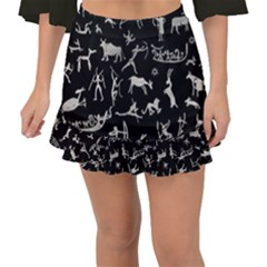 Petroglyph Nordic Beige And Black Background Petroglyph Nordic Beige And Black Background Fishtail Mini Chiffon Skirt by snek