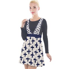 Pattern Ink Blue Navy Crosses Grunge Flesh And Navy Pattern Ink Crosses Grunge Flesh Beige Background Plunge Pinafore Velour Dress by snek