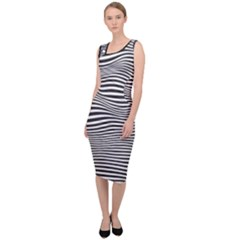 Retro Psychedelic Waves Pattern 80s Black And White Sleeveless Pencil Dress by snek