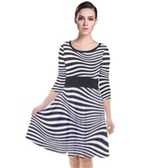 Retro Psychedelic Waves Pattern 80s Black And White Quarter Sleeve Waist Band Dress by snek