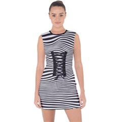 Retro Psychedelic Waves Pattern 80s Black And White Lace Up Front Bodycon Dress by snek