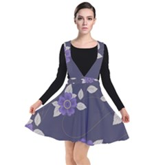 Purple Flowers Plunge Pinafore Dress by goljakoff