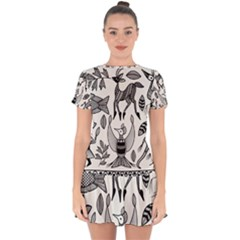 African Senufo Korhogo Tribal Ethnic Art Elements Vector Drop Hem Mini Chiffon Dress by BluedarkArt