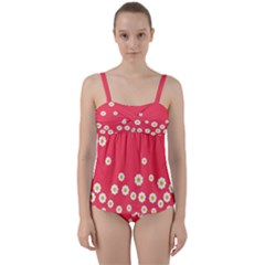 Flowers White Daisies Pattern Red Background Flowers White Daisies Pattern Red Bottom Twist Front Tankini Set