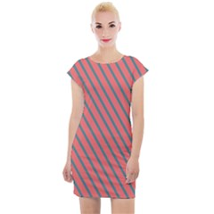 Living Coral Diagonal Stripes Cap Sleeve Bodycon Dress by LoolyElzayat