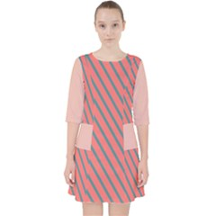 Living Coral Diagonal Stripes Pocket Dress by LoolyElzayat