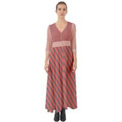Living Coral Diagonal Stripes Button Up Boho Maxi Dress by LoolyElzayat
