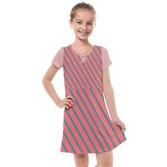 Living Coral Diagonal Stripes Kids  Cross Web Dress by LoolyElzayat