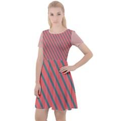 Living Coral Diagonal Stripes Cap Sleeve Velour Dress  by LoolyElzayat