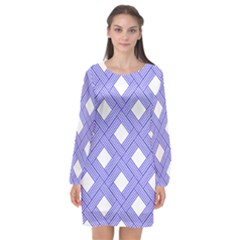 Textile Cross Seamless Pattern Long Sleeve Chiffon Shift Dress