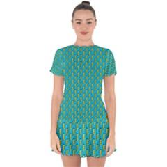 80s 90s Pattern 5 Drop Hem Mini Chiffon Dress by tarastyle