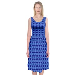 Basket Weave Basket Pattern Blue Midi Sleeveless Dress