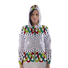 Round Star Colors Illusion Mandala Women s Hooded Windbreaker by Mariart