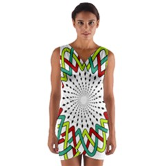 Round Star Colors Illusion Mandala Wrap Front Bodycon Dress by Mariart