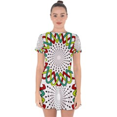 Round Star Colors Illusion Mandala Drop Hem Mini Chiffon Dress