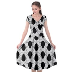 Pattern Beetle Insect Black Grey Cap Sleeve Wrap Front Dress