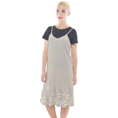 White Daisies Flower Pattern On Vintage Pastel Beige Background Retro Style Camis Fishtail Dress by genx