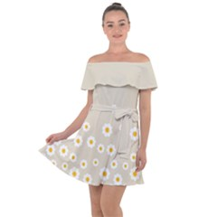 White Daisies Flower Pattern On Vintage Pastel Beige Background Retro Style Off Shoulder Velour Dress by genx
