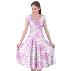 Peony Asia Spring Flowers Natural Cap Sleeve Wrap Front Dress
