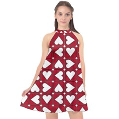 Graphic Heart Pattern Red White Halter Neckline Chiffon Dress