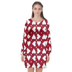 Graphic Heart Pattern Red White Long Sleeve Chiffon Shift Dress