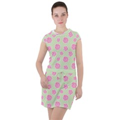 Roses Flowers Pink And Pastel Lime Green Pattern With Retro Dots Drawstring Hooded Dress by genx