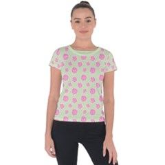 Roses Flowers Pink And Pastel Lime Green Pattern With Retro Dots Short Sleeve Sports Top  by genx