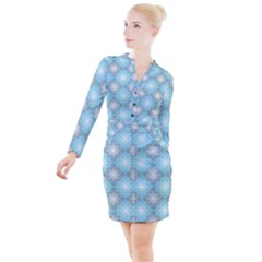 White Light Blue Gray Tile Button Long Sleeve Dress