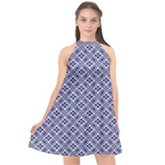 Wreath Differences Indigo Deep Blue Halter Neckline Chiffon Dress