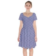 Wreath Differences Indigo Deep Blue Short Sleeve Bardot Dress by Pakrebo