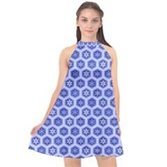 A Hexagonal Pattern Unidirectional Halter Neckline Chiffon Dress