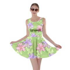 Lily Flowers Green Plant Natural Skater Dress