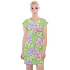 Lily Flowers Green Plant Natural Cap Sleeve Bodycon Dress