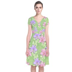 Lily Flowers Green Plant Natural Short Sleeve Front Wrap Dress by Pakrebo