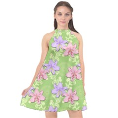 Lily Flowers Green Plant Natural Halter Neckline Chiffon Dress