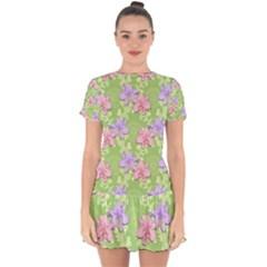 Lily Flowers Green Plant Natural Drop Hem Mini Chiffon Dress