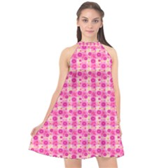 Heart Pink Halter Neckline Chiffon Dress  by Pakrebo