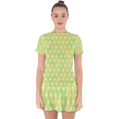 Traditional Patterns Hemp Pattern Drop Hem Mini Chiffon Dress by Pakrebo