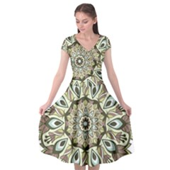 Mandala Pattern Round Floral Cap Sleeve Wrap Front Dress