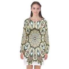 Mandala Pattern Round Floral Long Sleeve Chiffon Shift Dress